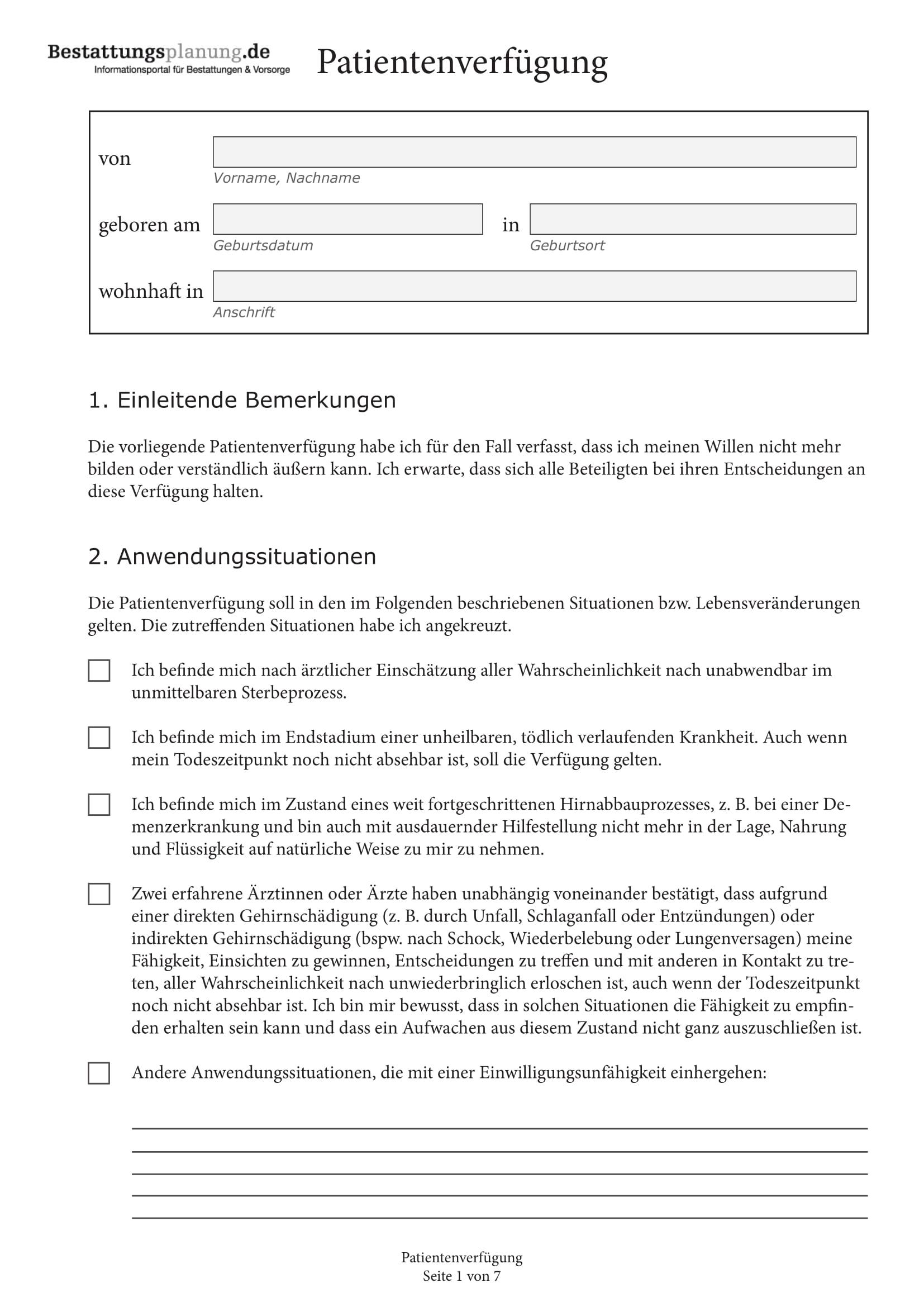 Kostenloses Muster für eine Patientenverfügung - Vorlage zum Download